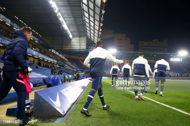 Tottenham Hotspur players enter the pitch prior to the Premier League match between Chelsea and Tottenham Hotspur at Stamford Bridge on November 29,...