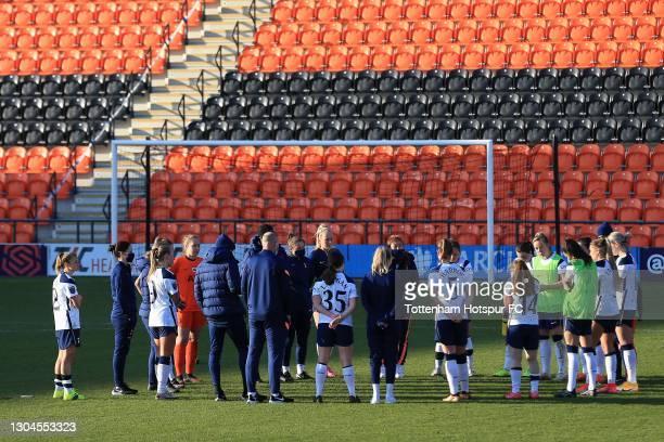 Tottenham Hotspur players following the Barclays FA Women's Super League match between Tottenham Hotspur Women and Everton Women at The Hive on...