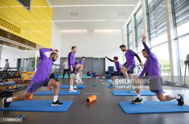Tottenham Hotspur players in the gym during the Tottenham Hotspur training session at Tottenham Hotspur Training Centre on May 17, 2019 in Enfield,...