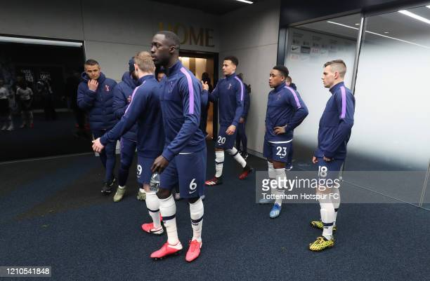 Tottenham Hotspur players in the tunnel prior to the FA Cup Fifth Round match between Tottenham Hotspur and Norwich City at Tottenham Hotspur Stadium...