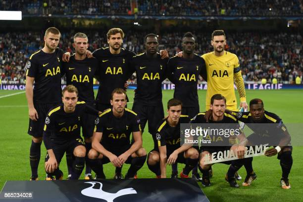 Tottenham Hotspur players line up for the team photos prior to the UEFA Champions League group H match between Real Madrid and Tottenham Hotspur at...