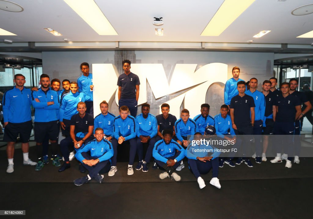 Tottenham Hotspur players pose while visiting Nike Town on Tottenham Hotspur Pre-Season Tour to the US on July 23, 2017 in New York, New York.