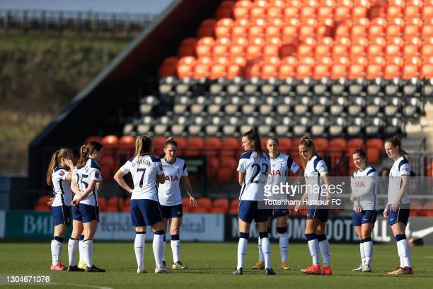 Tottenham Hotspur players prepare for kick off during the Barclays FA Women's Super League match between Tottenham Hotspur Women and Everton Women at...