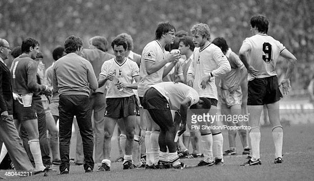 Tottenham Hotspur players preparing for extratime during the FA Cup Final at Wembley Stadium in London 9th May 1981 The match ended in a draw with...