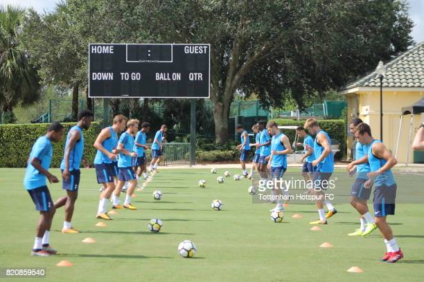 Tottenham Hotspur players take part in a training session on the preseason USA tour on July 20 2017 in Orlando Florida