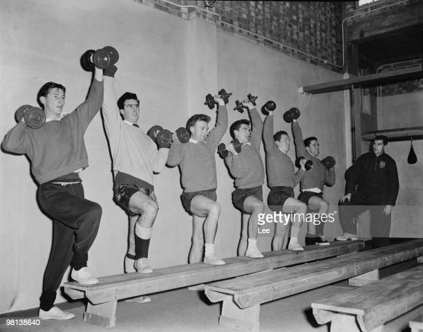 Tottenham Hotspur players training with coach Bill Watson for an away cuptie match against Newport County 6th January 1960 Left to right Bill Brown...