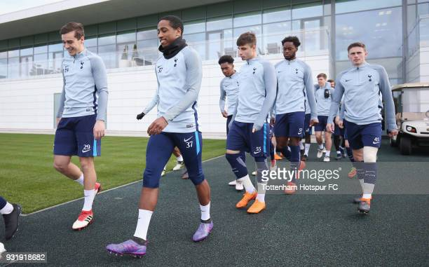 Tottenham Hotspur players walk out during the Tottenham Hotspur training session at Tottenham Hotspur Training Centre on March 14 2018 in Enfield...