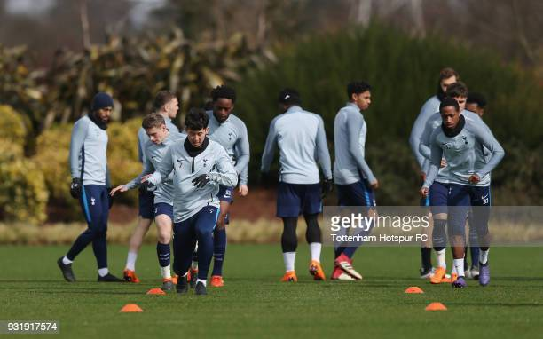 Tottenham Hotspur players warm up during the Tottenham Hotspur training session at Tottenham Hotspur Training Centre on March 14 2018 in Enfield...