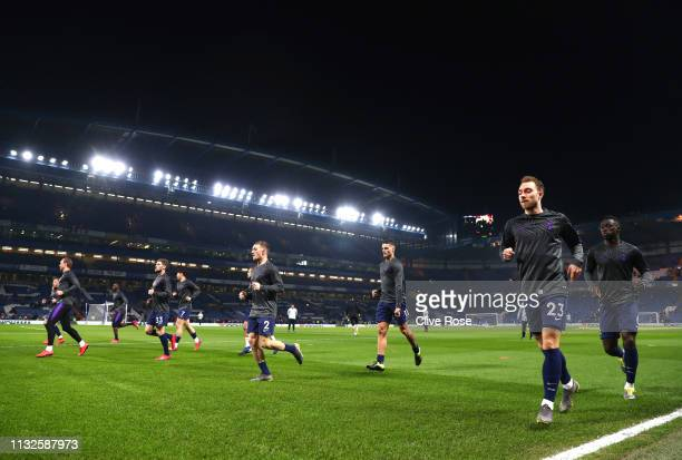 Tottenham Hotspur players warm up prior to the Premier League match between Chelsea FC and Tottenham Hotspur at Stamford Bridge on February 27 2019...