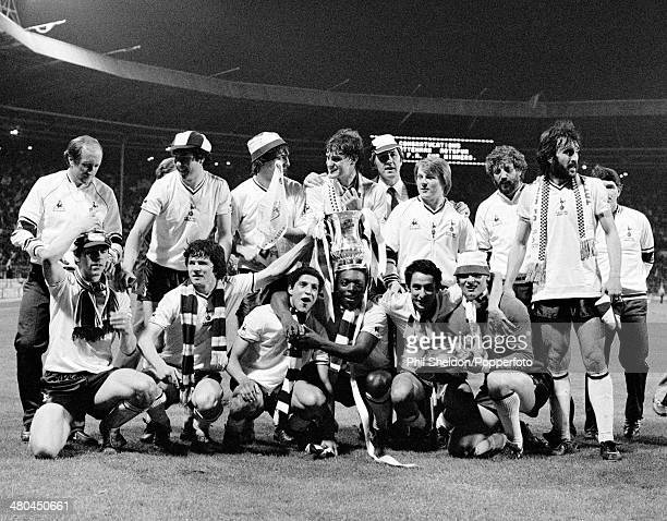 Tottenham Hotspur players with the trophy after winning the FA Cup Final Replay against Manchester City at Wembley Stadium in London 14th May 1981...
