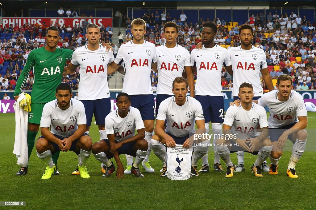 Tottenham Hotspur poses for a team photo prior to the start of the match against Roma during the International Champions Cup 2017 at Red Bull Arena on July 25, 2017 in Harrison, New Jersey.