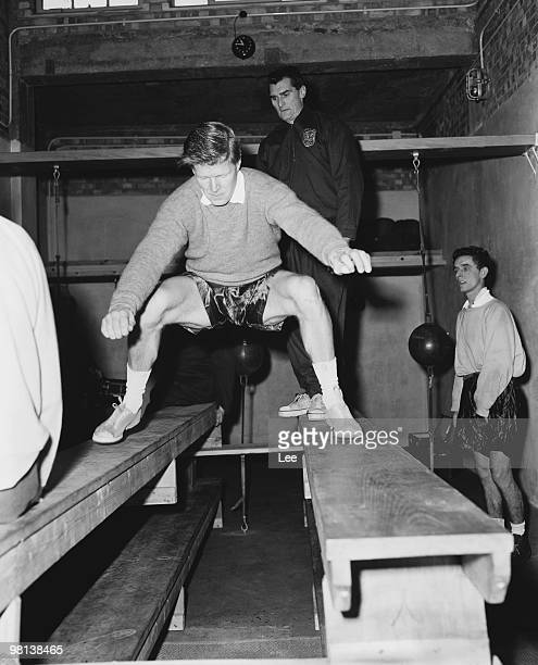 Tottenham Hotspur rightback Peter Baker training with coach Bill Watson for an away cuptie match against Newport County 6th January 1960