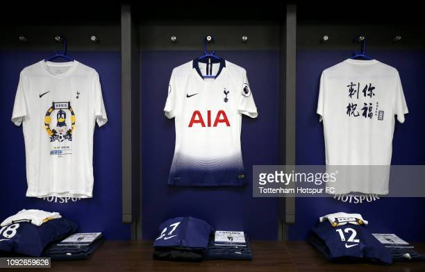 Tottenham Hotspur shirt celebrating the Chinese new year is seen in the changing room prior to the Premier League match between Tottenham Hotspur and...