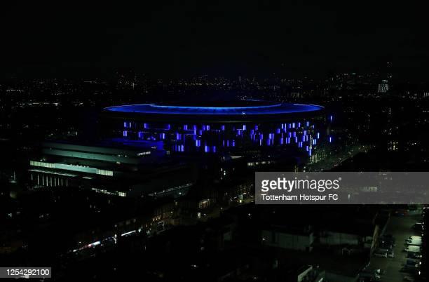 Tottenham Hotspur Stadium lights up blue to celebrate 72 years of the NHS at Tottenham Hotspur Stadium on July 04, 2020 in London, England.
