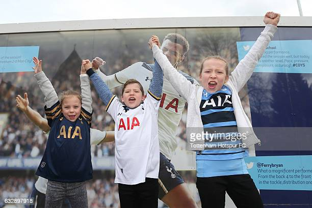 Tottenham Hotspur supporters arrive at the stadium prior to the Emirates FA Cup Fourth Round match between Tottenham Hotspur and Wycombe Wanderers at...