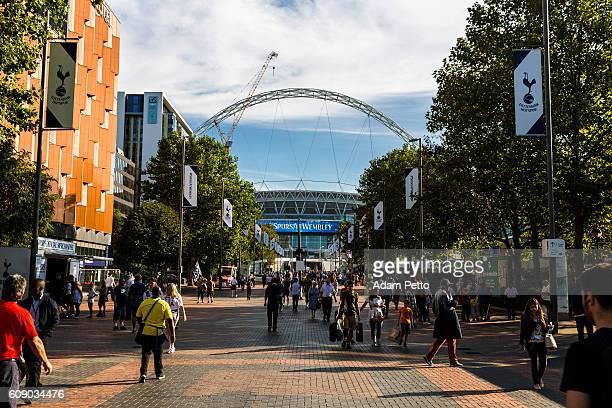 Tottenham Hotspur supporters outside Wembley Stadium, London, UK