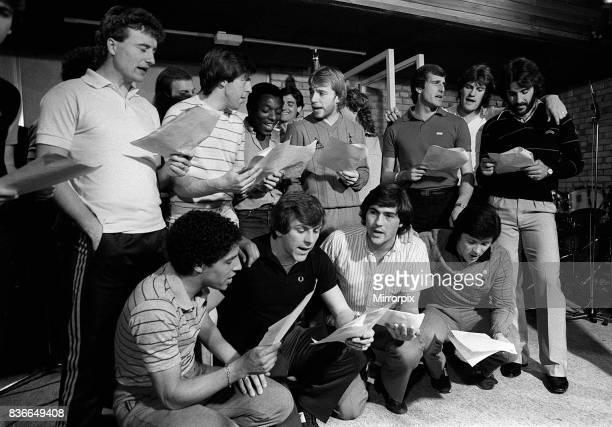 Tottenham Hotspur team in recording studio 1982 Glenn Hoddle Ricardo Villa Garth Crooks Steve Archibald Steve Perryman Ray Clemence Chris Hughton...