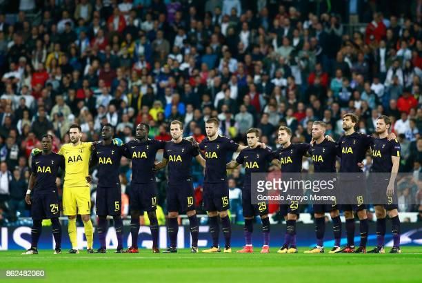 Tottenham Hotspur team line up prior to the UEFA Champions League group H match between Real Madrid and Tottenham Hotspur at Estadio Santiago...