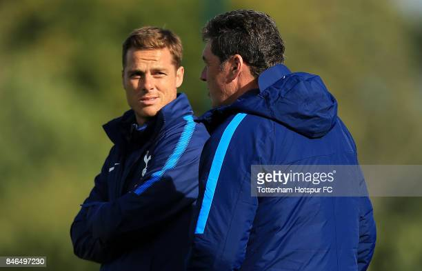 Tottenham Hotspur U18 Coach Scott Parker looks on with Academy Manager John McDermott during the UEFA Youth Champions League group H match between...