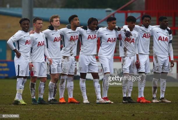 Tottenham Hotspur U19s players during UEFA Youth League Round 16 match between Tottenham Hotspur U19s and AS Monaco U19s at Lamex Stadium Stevenage...