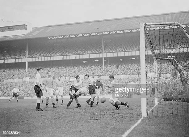 Tottenham Hotspur v Blackpool Division One Tottenham hammer home another goal against Blackpool at White Hart Lane during their four nil victory over...