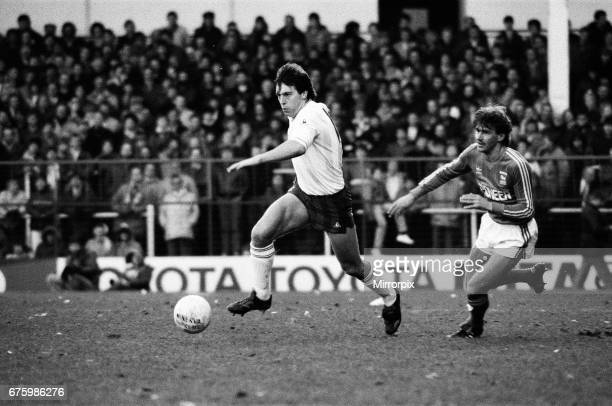 Tottenham Hotspur v Ipswich Town league match at White Hart Lane January 1984. Final score: Tottenham Hotspur 2-0 Ipswich Town.