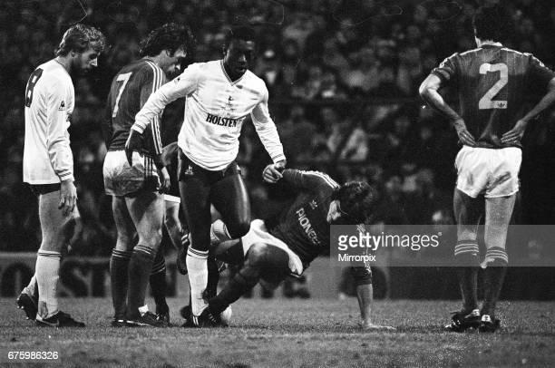 Tottenham Hotspur v Ipswich Town league match at White Hart Lane January 1984 Steve Archibald John Wark Garth Crooks Final score Tottenham Hotspur 20...