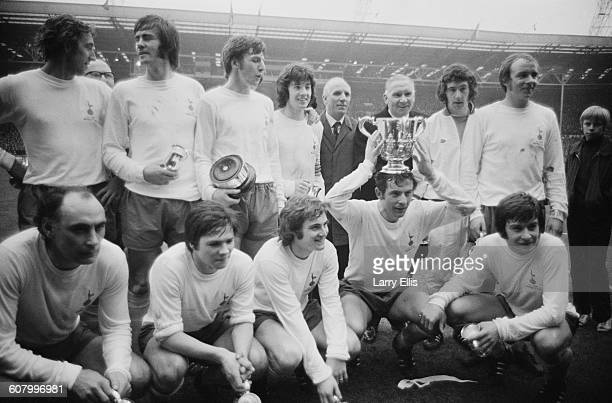 Tottenham Hotspur win the Football League Cup Final against Aston Villa at Wembley Stadium, London, 27th February 1971. From left to right Martin...