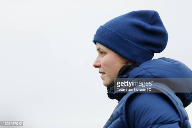 Tottenham Hotspur Women coach Lauren Smith during the Tottenham Hotspur Women training session at Tottenham Hotspur Training Centre on March 05, 2021...