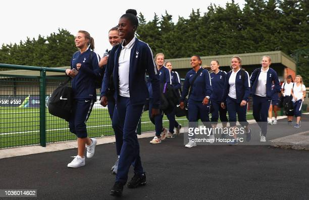 Manager Karen Hills of Spurs talks to her team after the WSL 2 match between Leicester City and Tottenham Hotspur at Farley Way Stadium on September...