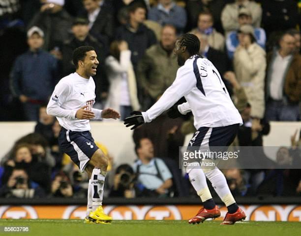 Tottenham Hotspur's Aaron Lennon celebrates scoring his sides second goal with Pascal Chimbonda