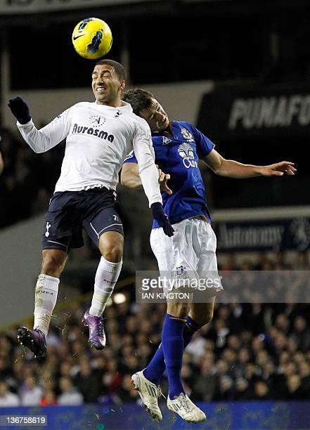 Tottenham Hotspur's Aaron Lennon vies with Everton's Diniyar Bilyaletdinov during an English Premier League football match between Tottenham Hotspur...