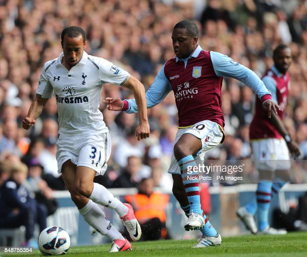 Tottenham Hotspur's Andros Townsend and Aston Villa's Charles N'Zogbia battle for the ball