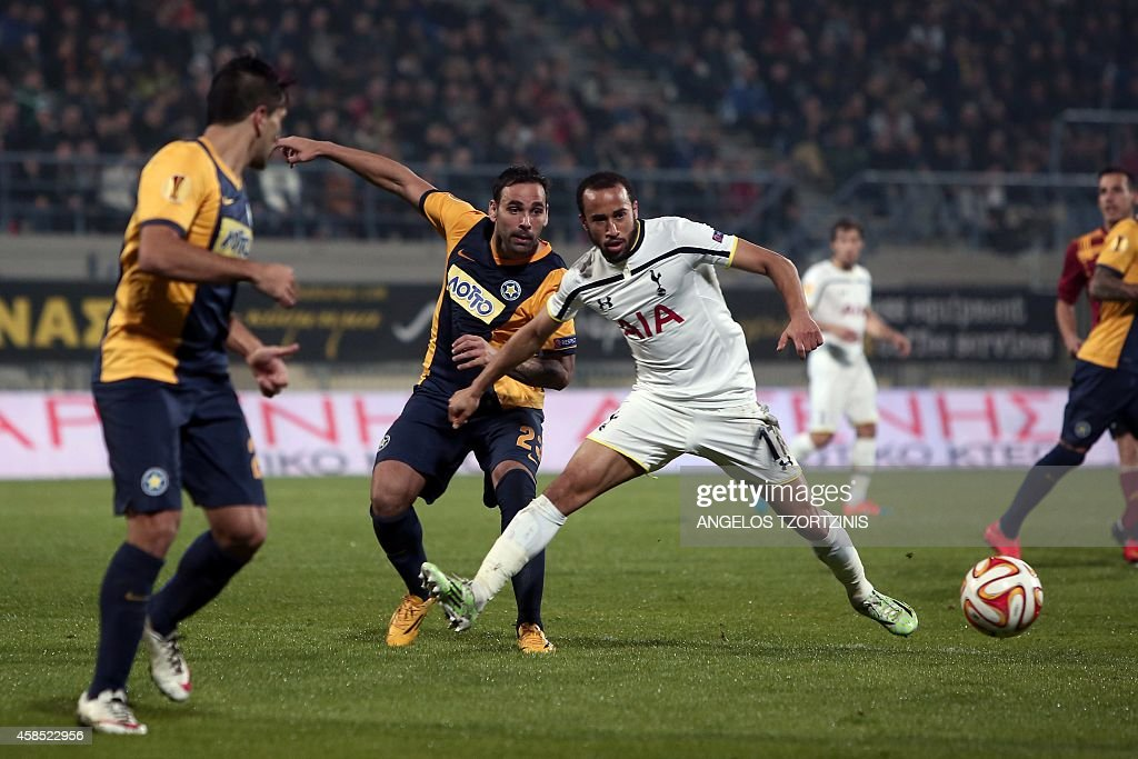 Tottenham Hotspur's Andros Townsend (R) vies with Asteras Tripolis' Facundo Parra (2ndL) during the UEFA Europa League group C football match between Asteras Tripolis and Tottenham Hotspur, in Tripoli south west in Greece, on November 6, 2014. AFP PHOTO / Angelos Tzortzinis