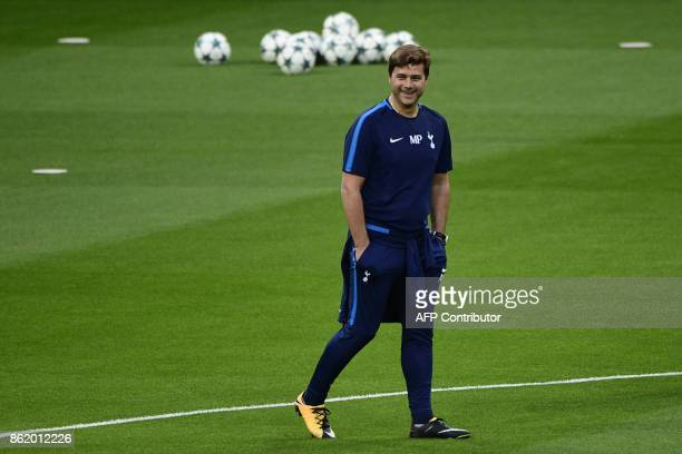 Tottenham Hotspur's Argentinian coach Mauricio Pochettino attends a training session in Madrid on October 16 2017 on the eve of the UEFA Champions...