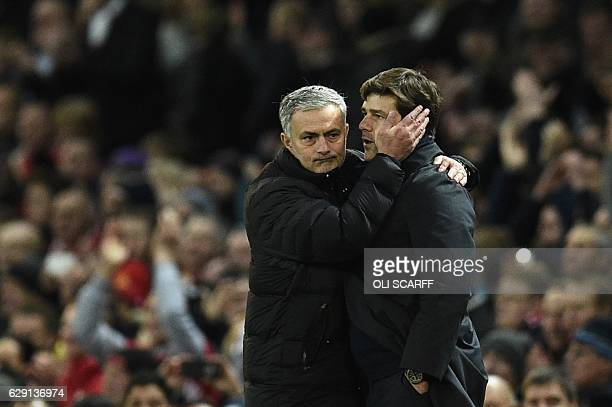 Tottenham Hotspur's Argentinian head coach Mauricio Pochettino shakes hands with Manchester United's Portuguese manager Jose Mourinho after the...