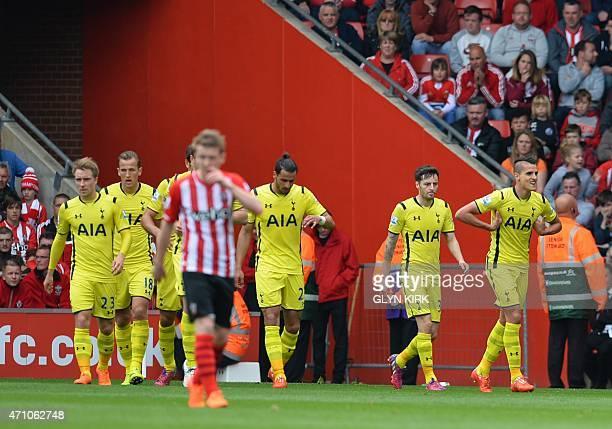 Tottenham Hotspur's Argentinian midfielder Erik Lamela celebrates after scoring during the English Premier League football match between Southampton...