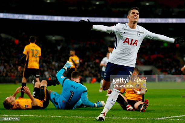 Tottenham Hotspur's Argentinian midfielder Erik Lamela celebrates after scoring their second goal during the English FA Cup fourth round replay...