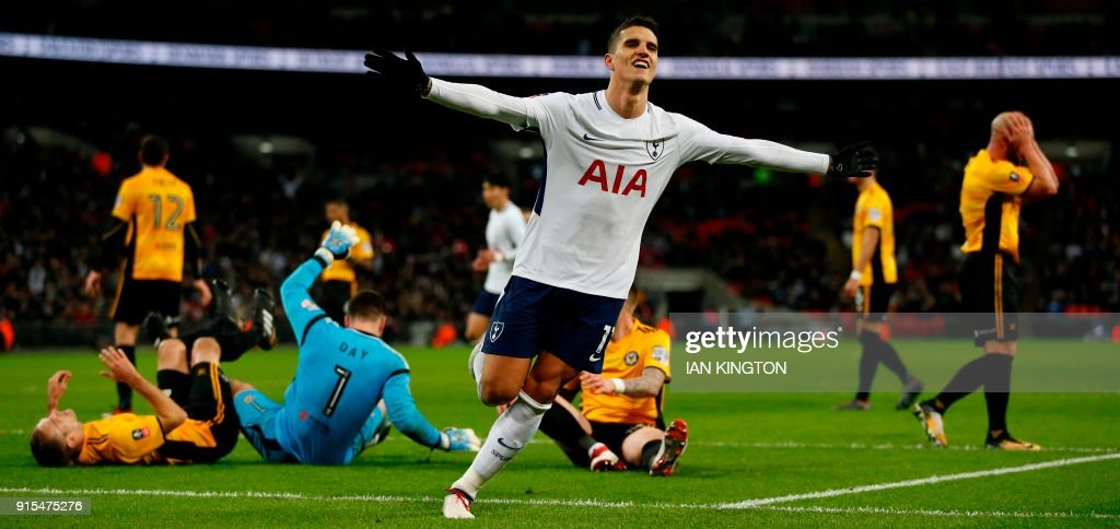 Tottenham Hotspur's Argentinian midfielder Erik Lamela celebrates after scoring their second goal during the English FA Cup fourth round replay football match between Tottenham Hotspur and Newport County at Wembley Stadium in London, on February 7, 2018. / AFP PHOTO / Ian KINGTON / RESTRICTED TO EDITORIAL USE. No use with unauthorized audio, video, data, fixture lists, club/league logos or 'live' services. Online in-match use limited to 75 images, no video emulation. No use in betting, games or single club/league/player publications. /