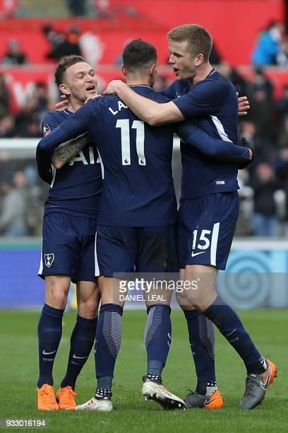 Tottenham Hotspur's Argentinian midfielder Erik Lamela celebrates scoring their second goal during the English FA Cup quarterfinal football match...
