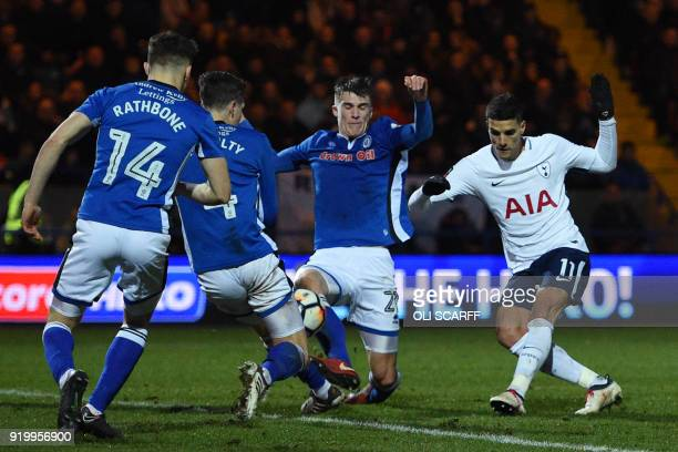 Tottenham Hotspur's Argentinian midfielder Erik Lamela has an unsuccessful shot during the English FA Cup fifth round football match between Rochdale...