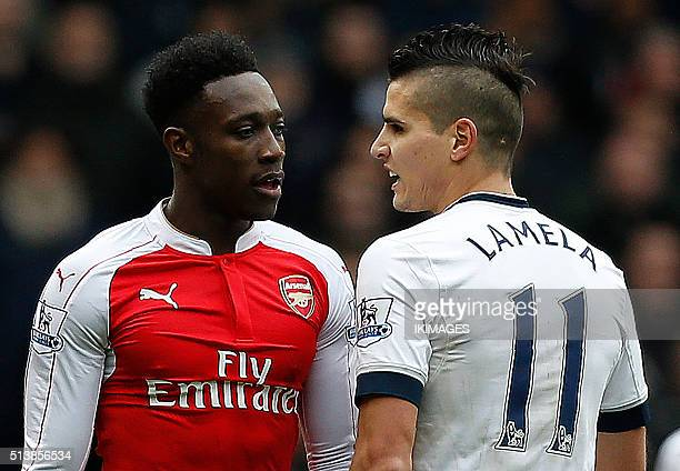 Tottenham Hotspur's Argentinian midfielder Erik Lamela remonstrates with Arsenal's English striker Danny Welbeck during the English Premier League...