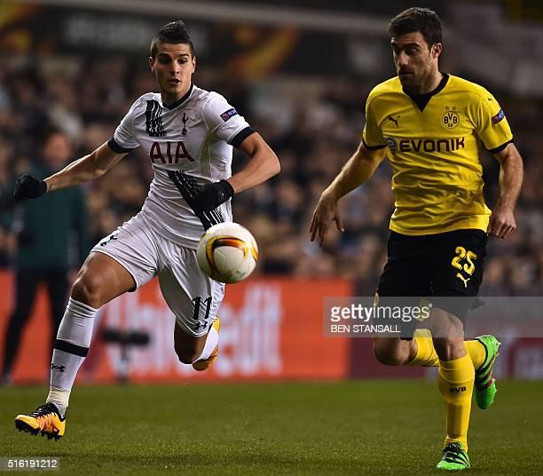 Tottenham Hotspur's Argentinian midfielder Erik Lamela vies with Borussia Dortmund's Greek defender Sokratis during the UEFA Europa League round of...