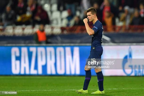 Tottenham Hotspur's Argentinian midfielder Giovani Lo Celso celebrates after scoring his team's first goal during the UEFA Champions League Group B...