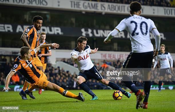 Tottenham Hotspur's Belgian defender Jan Vertonghen attempts a shot on goal during the English Premier League football match between Tottenham...