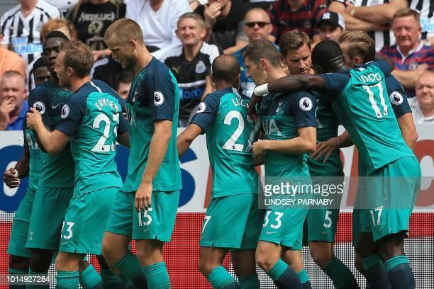 Tottenham Hotspur's Belgian defender Jan Vertonghen celebrates scoring the opening goal during the English Premier League football match between...