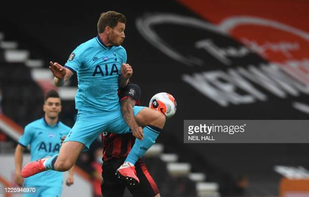 Tottenham Hotspur's Belgian defender Jan Vertonghen jumps for the ball during the English Premier League football match between Bournemouth and...
