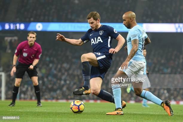 Tottenham Hotspur's Belgian defender Jan Vertonghen vies with Manchester City's English midfielder Fabian Delph during the English Premier League...