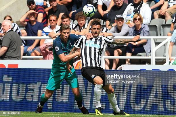 Tottenham Hotspur's Belgian defender Jan Vertonghen vies with Newcastle United's Spanish striker Mato Joselu during the English Premier League...