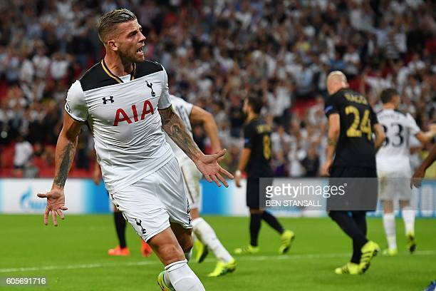 Tottenham Hotspur's Belgian defender Toby Alderweireld celebrates after scoring during the UEFA Champions League group E football match between...